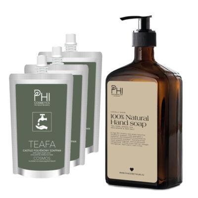 Folyékony kézmosó szappanos üveg + 3db utántöltő szappannal
